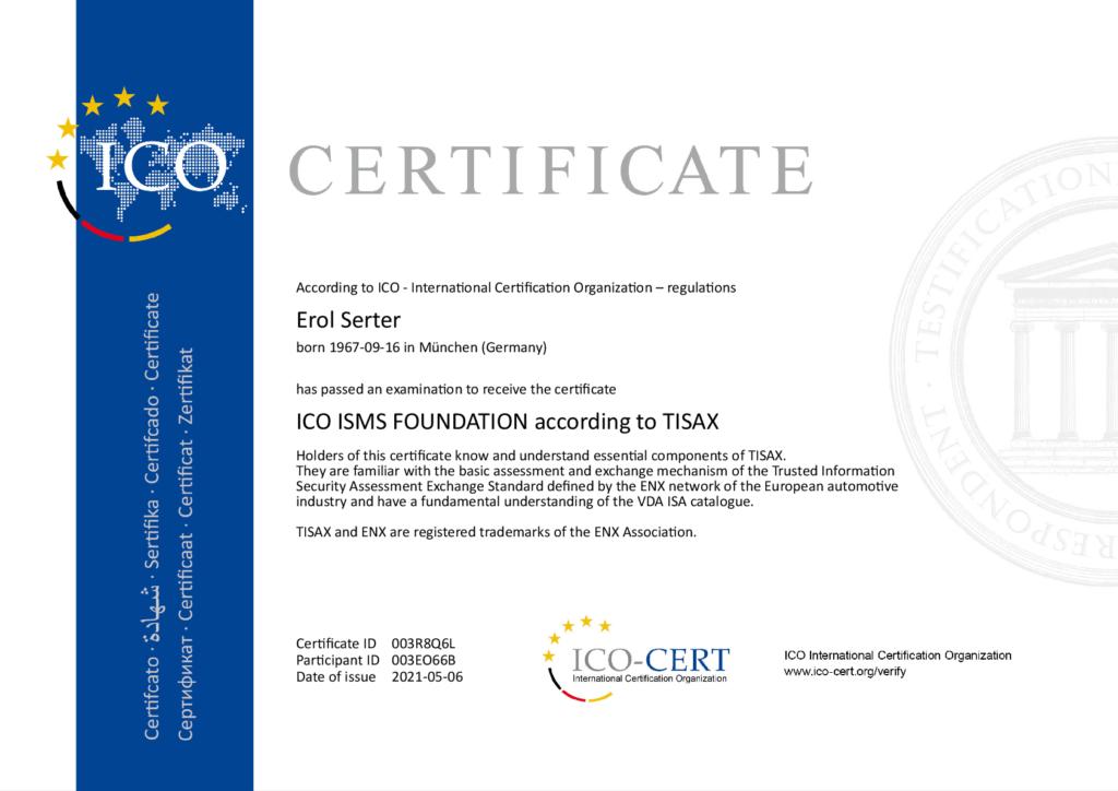 ICO ISMS FOUNDATION according to TISAXaccording to TISAX